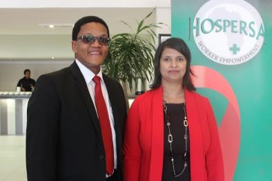 International Labour Organisation Senior Technical Advisor on Health: Simphiwe Mabhele and Hospersa Executive Manager: Education & Training, Fazeela Fayers.
